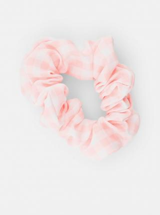 Růžová kostkovaná gumička Pieces Mecks dámské