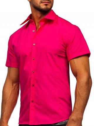 Růžová pánská elegantní košile s krátkým rukávem Bolf 7501 M