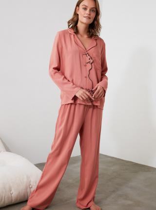Růžové dámské pyžamo Trendyol dámské růžová S