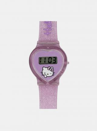 Růžové holčičí hodinky ve tvaru srdce Hello Kitty růžová