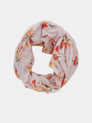 Růžový květovaný šátek Pieces Avola dámské růžová