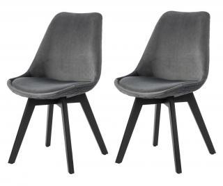 Sada 2 židlí Šedá & Stříbrná