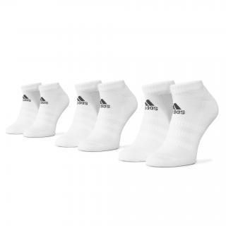Sada 3 párů nízkých ponožek unisex adidas - Cush Low 3Pp DZ9384  White/White/White Bílá 46/48