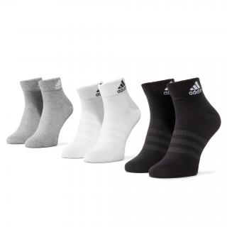 Sada 3 párů nízkých ponožek unisex adidas - Light Ank 3PP DZ9434 Mgreyh/White/Black Šedá 34/36