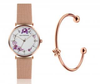 Sada dámské náramkové hodinky a náramek Flower Wreath Mesh and Flower Cuff