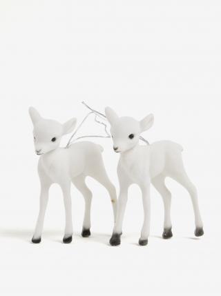 Sada dvou bílých ozdob ve tvaru sobích mláďat Kaemingk bílá