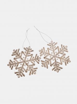 Sada dvou závěsných vánočních dekorací ve zlaté barvě Dakls zlatá