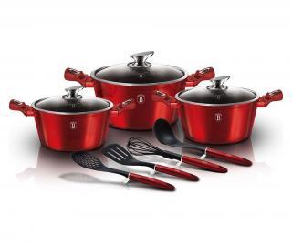 Sada nádobí na vaření 10 dílů Metallic Line- Burgundy Červená