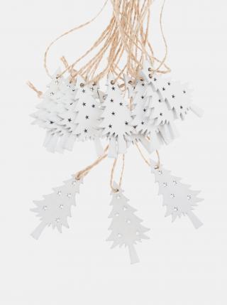 Sada osmnácti dřevěných závěsných vánočních dekorací Dakls bílá
