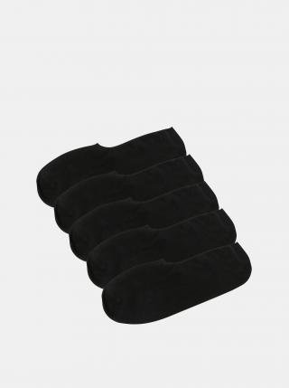 Sada pěti párů černých nízkých ponožek Jack & Jones Basic pánské černá ONE SIZE