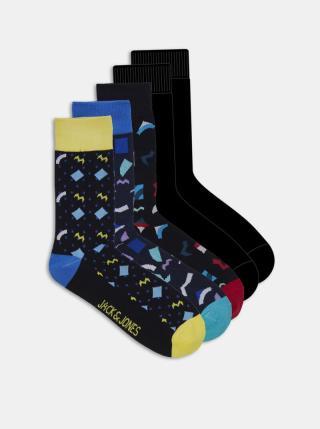 Sada pěti párů černých ponožek s motivem Jack & Jones Pattern pánské černá ONE SIZE