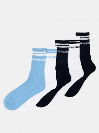 Sada pěti párů ponožek v bílé a modré barvě Jack & Jones Street pánské tmavě modrá ONE SIZE