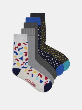 Sada pěti párů ponožek v šedé barvě Jack & Jones Pops pánské šedá ONE SIZE