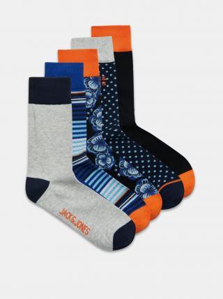 Sada pěti párů vzorovaných ponožek v modré barvě Jack & Jones Blueis pánské tmavě modrá ONE SIZE