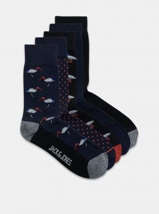 Sada pěti párů vzorovaných ponožek v modré barvě Jack & Jones pánské tmavě modrá ONE SIZE