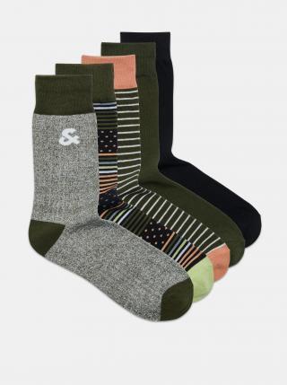 Sada pěti párů vzorovaných ponožek v šedé a khaki barvě Jack & Jones pánské ONE SIZE