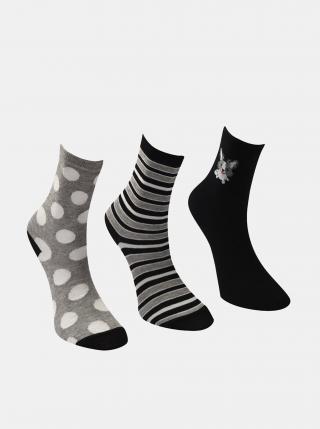 Sada tří párů dámských ponožek v černé a šedé barvě Trendyol dámské černá ONE SIZE