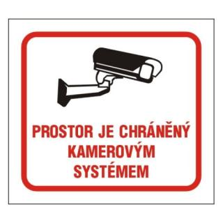 Samolepka 10x9cm prostor je chráněný kamerovým systémem