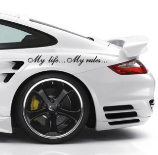 Samolepka na auto ,,My life... My rules... Barva: černá