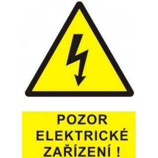 Samolepka pozor elektrické zařízení blesk v trojúhelníku  60x70mm