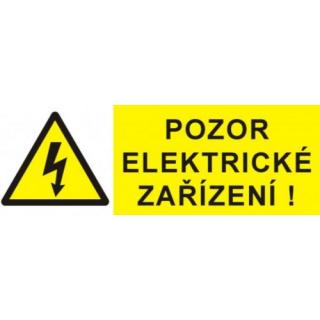 Samolepka pozor elektrické zařízení blesk v trojúhelníku  90x32mm