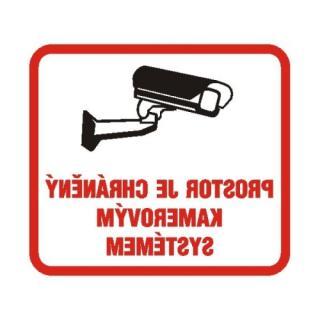 Samolepka-zrcadlový tisk 10x9cm prostor je chráněný kamerovým systémem