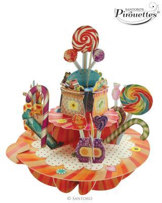 Santoro papírová 3D dekorace Sweet&Candy barevná