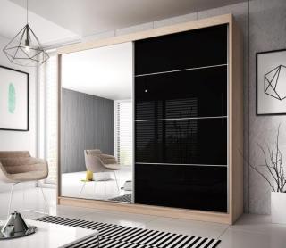Šatní skřín Malta 31, sonoma/černý lesk 203cm