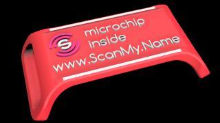 ScanMy.Name chytrá psí známka s čipem - Červená