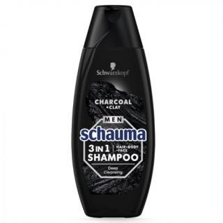 Schauma Šampon pro muže 3v1 Charocal   Clay  400 ml pánské