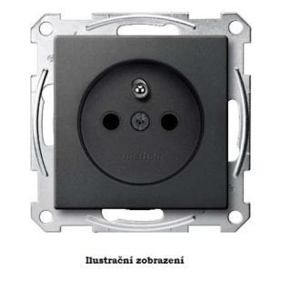 Schneider Merten zásuvka 250V/16A clonky ochrana před přepětím System M antracit MTN2600-0414P