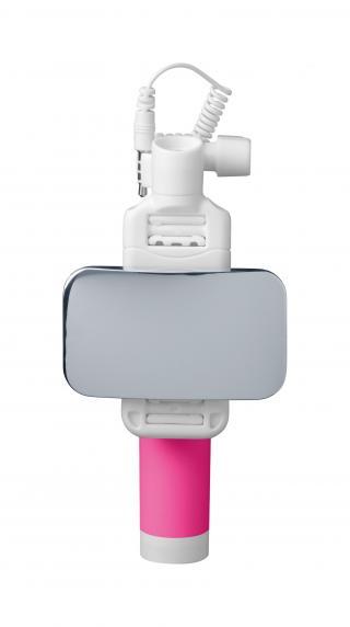Selfie tyč se zrcátkem CellularLine Total View růžová