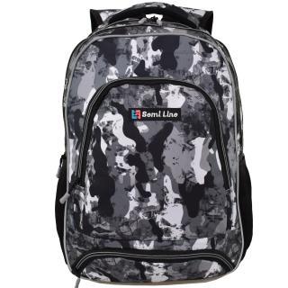 Semiline Unisexs Backpack J4674-1 Grey 46 cm x 30 cm x 14 cm