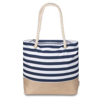 Semiline Womans Bag L2021-1 White/Navy Blue dámské 46 cm x 38 cm x 13 cm