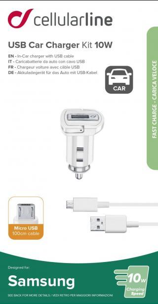 Set Cellularline autonabíječky a micro USB kabelu, 10W, bílá