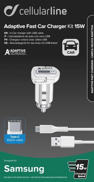 Set Cellularline autonabíječky a USB-C kabelu, adaptivní nabíjení, 15W, bílá
