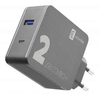 Set síťové nabíječky a USB-C kabelu Cellularline Multipower 2 Combo Plus, PD 48W, černý