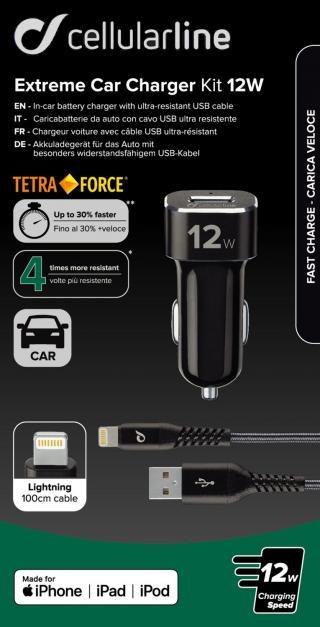 Set USB autonabíječky a Lightning kabelu Cellularline Tetra Force 12W, černá