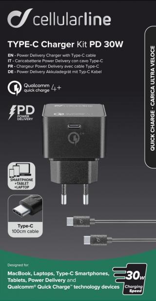 Set USB-C síťové nabíječky Cellularline (PD) a 1m kabelu s USB-C, max. 30 W, Qualcomm® Quick Charge™ 4 , černý