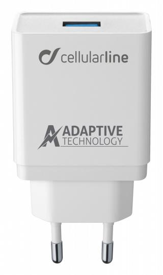 Set USB nabíječky a USB-C kabelu Cellularline, adaptivní nabíjení, 15W, bílá