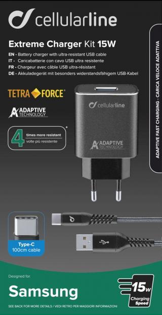 Set USB nabíječky a USB-C kabelu Cellularline Tetra Force 15W, černý