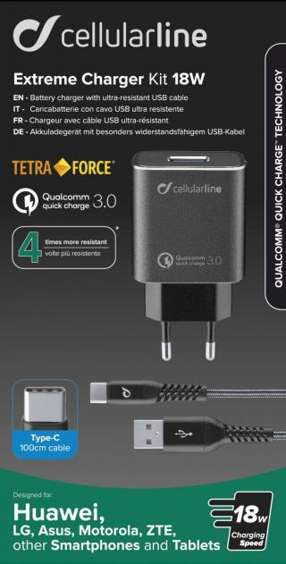 Set USB nabíječky a USB-C kabelu Cellularline Tetra Force 18W, Qualcomm® Quick Charge 3.0, černý