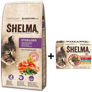 Shelma granule losos 8kg   Shelma bezobilné dušené filetky výběr z masa a ryb 12 × 85 g