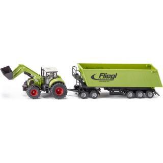 Siku Farmer Traktor s předním nakladačem a přívěsem Fliegel pánské