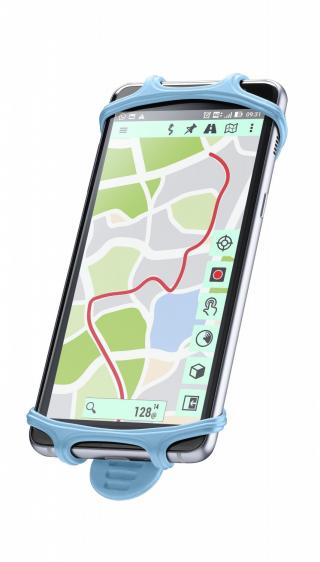 Silikonový držák Cellularline Bike Holder pro mobilní telefony na řídítka, modrý
