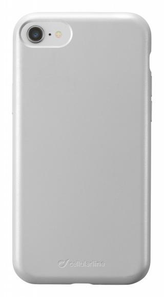 Silikonový kryt Cellularline Sensation Metallic pro Apple iPhone 8/7, stříbrná
