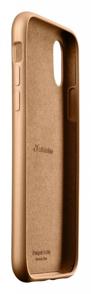 Silikonový kryt Cellularline Sensation Metallic pro Apple iPhone XR, zlatá