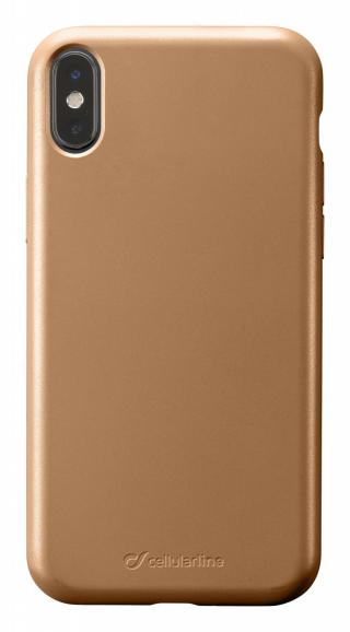 Silikonový kryt Cellularline Sensation Metallic pro Apple iPhone X/XS, zlatá