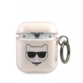 Silikonový kryt Karl Lagerfeld TPU Glitter Choupette Head KLA2UCHGD pro Airpods 1/2, zlatá