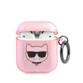 Silikonový kryt Karl Lagerfeld TPU Glitter Choupette Head KLA2UCHGP pro Airpods 1/2, růžová